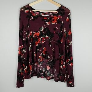 Abercrombie & Fitch Burgundy Floral High/Low Top
